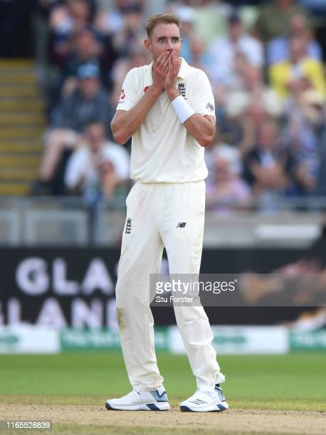 England bowler Stuart Broad reacts after taking the wicket of Tim Paine during day one of the First Specsavers Ashes Test Match between England and...