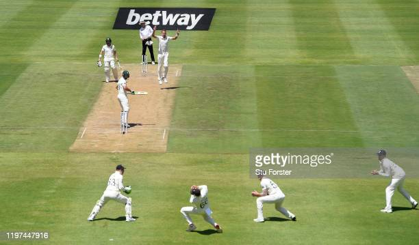 England bowler Stuart Broad takes the wicket of Pieter Malan, caught by Joe Root at slip during Day Two of the Second Test between South Africa and...