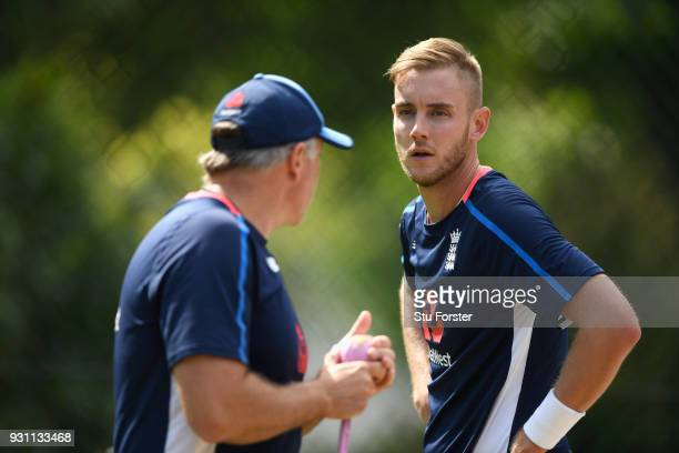 England bowler Stuart Broad with bowling coach Chris Silverwood during England nets ahead of their first warm up match at Seddon Park on March 13...