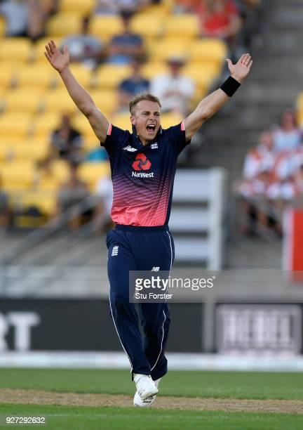 England bowler Tom Curran appeals during the 3rd ODI between New Zealand and England at Westpac stadium on March 3 2018 in Wellington New Zealand