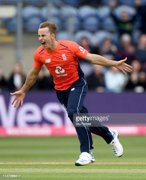 England bowler Tom Curran celebrates after taking the wicket of Zaman during the Twenty20 International match between England and Pakistan at Sophia...