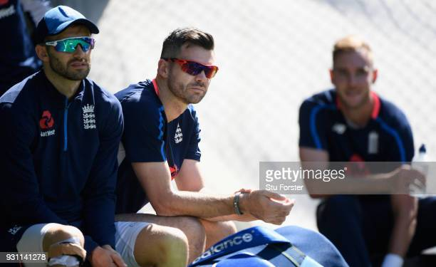 England bowlers from left to right Mark Wood James Anderson and Stuart Broad look on during England nets ahead of their first warm up match at Seddon...