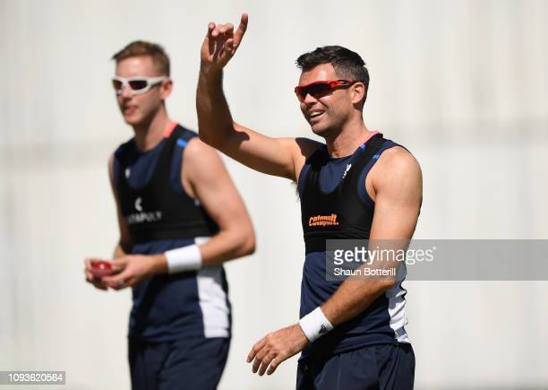 England bowlers James Anderson and Stuart Broad warm up during net practice at the Three Ws Oval on January 13 2019 in Bridgetown Barbados