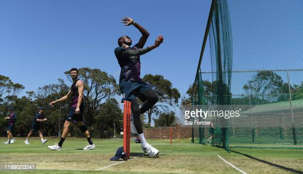 England bowlers Jofra Archer in bowling action as Mark Wood looks on during England nets at St George's Park on January 12, 2020 in Port Elizabeth,...