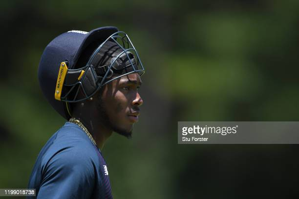 England bowlers Jofra Archer looks on as he waits to bat during England nets at St George's Park on January 12, 2020 in Port Elizabeth, South Africa.