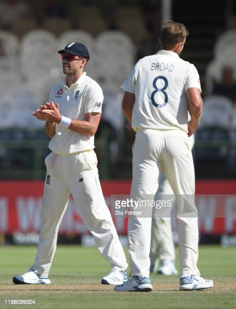 England bowlers Stuart Broad and James Anderson look on during Day Five of the Second Test between South Africa and England at Newlands on January...