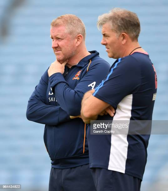 England bowling coach Chris Silverwood and Anthony McGrath during a nets session at Headingley on May 31 2018 in Leeds England
