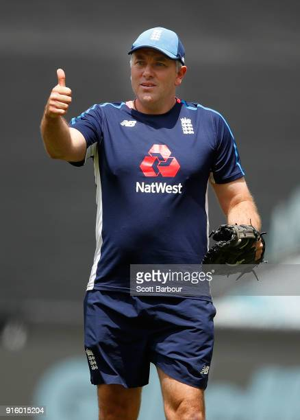 England bowling coach Chris Silverwood during a training session before the Twenty20 T20 international series match at the Melbourne Cricket Ground...