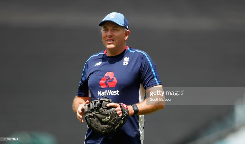 England bowling coach, Chris Silverwood during a training session before the Twenty20 T20 international series match at the Melbourne Cricket Ground on February 9, 2018 in Melbourne, Australia.