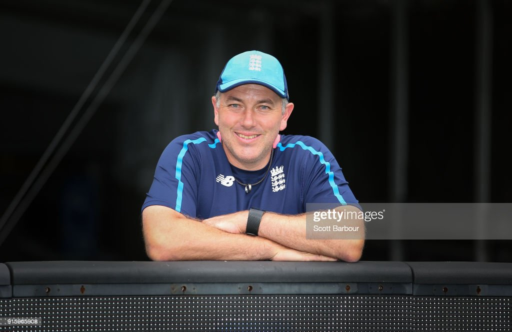 England bowling coach, Chris Silverwood poses before the Twenty20 T20 international series team photo at the Melbourne Cricket Ground on February 9, 2018 in Melbourne, Australia.
