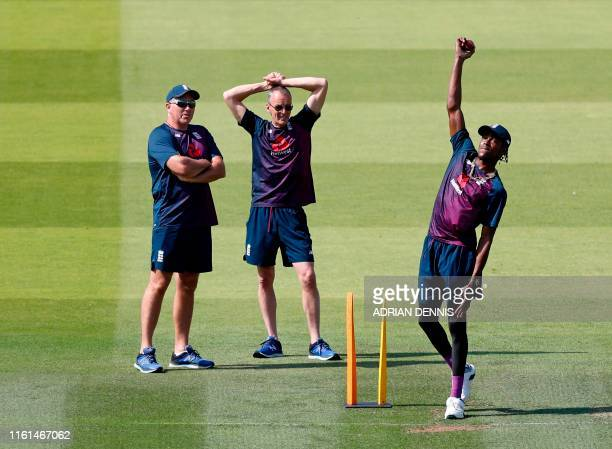 England bowling coach Chris Silverwood watches fast bowler England's Jofra Archer during a practice session at Lord's Cricket Ground in London on...