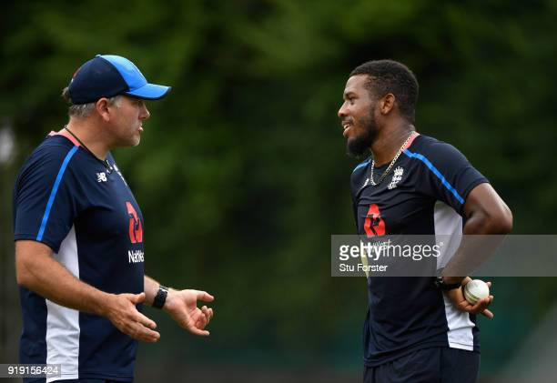 England bowling coach Chris Silverwood with Chris Jordan during England Cricket nets at Seddon park ahead of their T2O match against New Zealand...