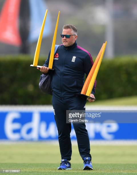 England bowling coach Darren Gough during the tour match between New Zealand XI and England at Cobham Oval on November 13 2019 in Whangarei New...