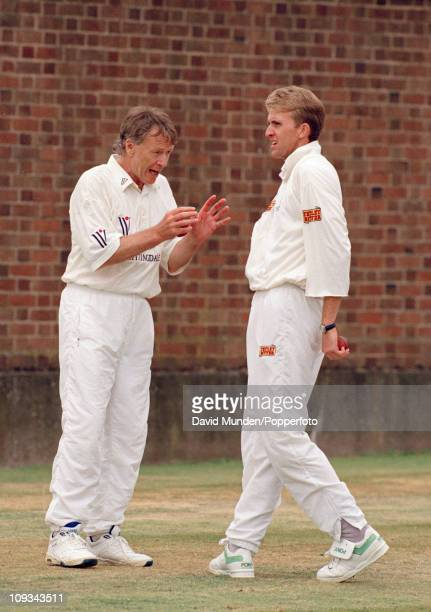 England bowling coach Peter Lever talking to Dominic Cork prior to the 3rd Test match between England and the West Indies at Edgbaston in Birmingham...
