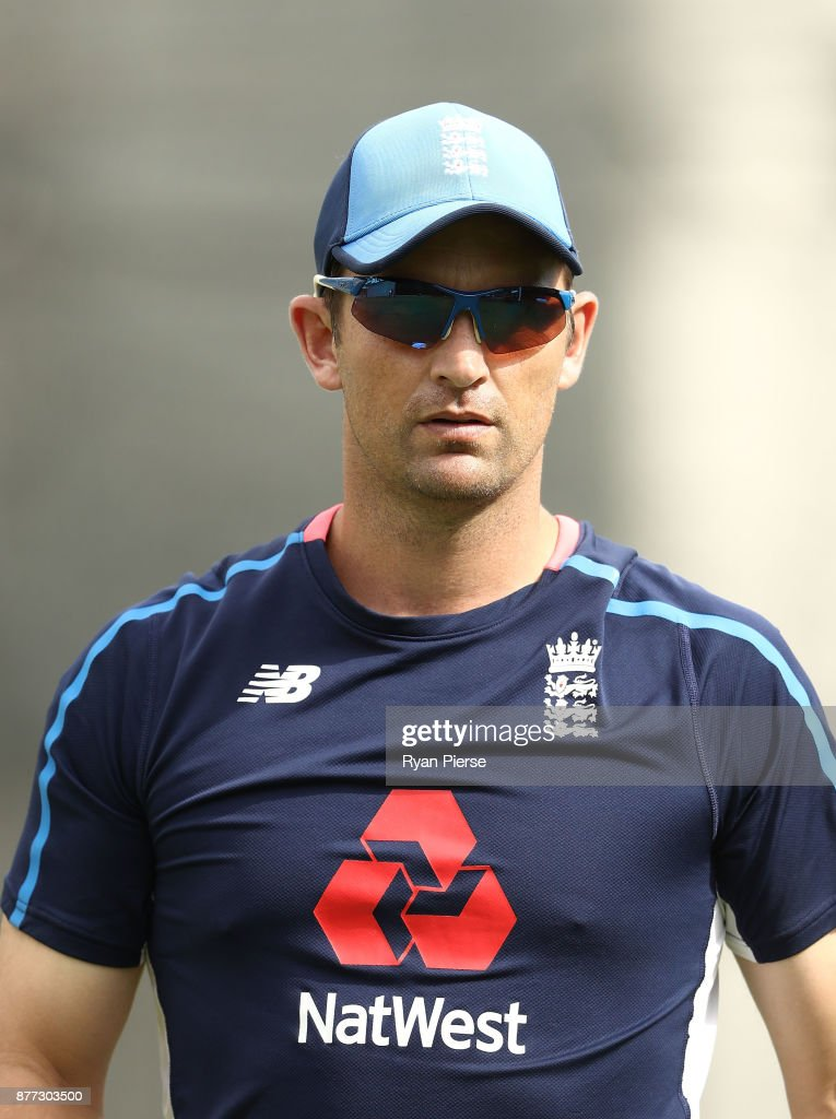 England Bowling Coach Shane Bond looks on during an England nets session at The Gabba on November 22, 2017 in Brisbane, Australia.