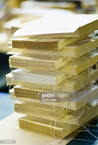 England, Bristol, Stack of book bindings