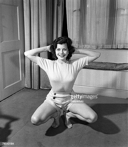 England British actress and former waitress Joan Rice is pictured doing some exercises