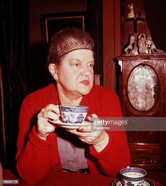 England British actress Violet Carson who plays the role of Ena Sharples on the television soap opera Coronation Street