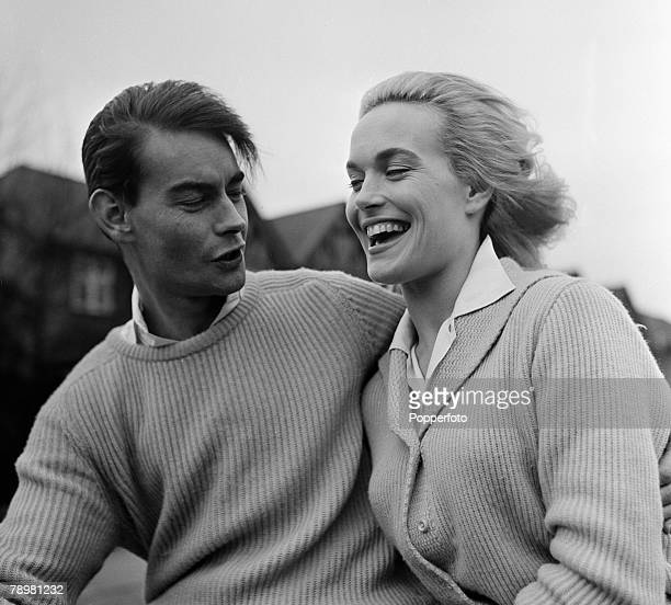 England British Film and Movie actress Shirley Eaton with her fiancee Colin LentonRowe