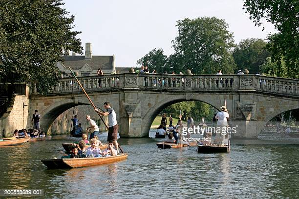 uk, england, cambridge, people punting on river cam near kings college - cambridge england stock pictures, royalty-free photos & images