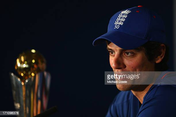 England captain Alastair Cook addresses the media sat alongside the ICC Champions Trophy during the England press conference at Edgbaston on June 22...
