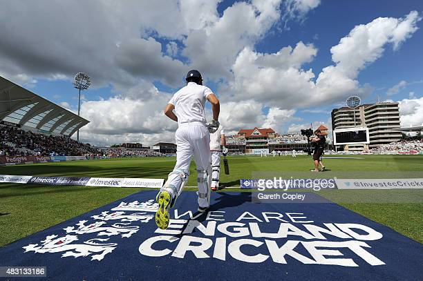 England captain Alastair Cook and Adam Lyth run out to bat during day one of the 4th Investec Ashes Test match between England and Australia at Trent...