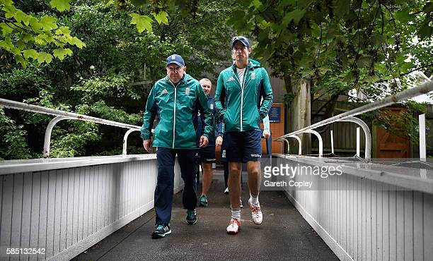 England captain Alastair Cook and coach Trevor Bayliss arrive for a nets session at Edgbaston on August 2 2016 in Birmingham England