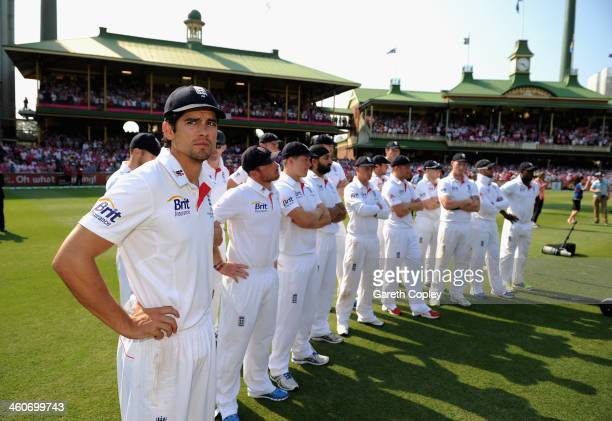 England captain Alastair Cook and his team watch the presentations after losing the Fifth Ashes Test match between Australia and England at Sydney...