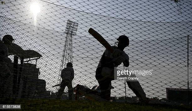 England captain Alastair Cook bats during a nets session at Zohur Ahmed Chowdhury Stadium on October 19 2016 in Chittagong Bangladesh