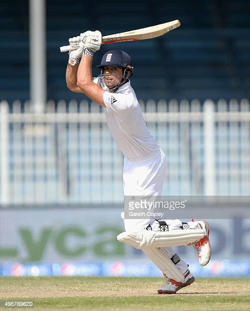 England captain Alastair Cook bats during day five of the 3rd Test between Pakistan and England at Sharjah Cricket Stadium on November 5 2015 in...