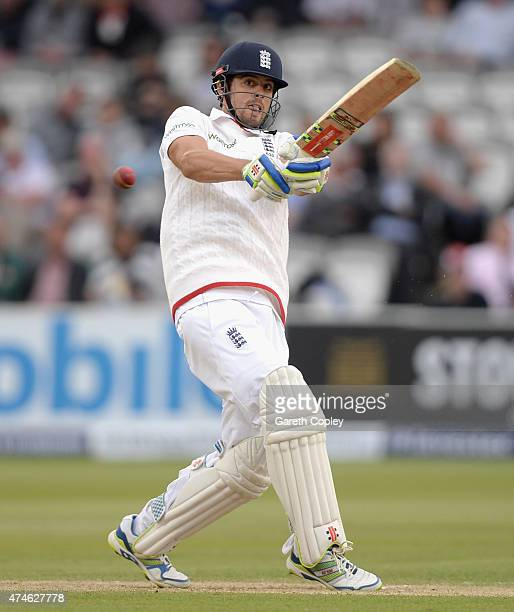England captain Alastair Cook bats during day four of 1st Investec Test match between England and New Zealand at Lord's Cricket Ground on May 24 2015...