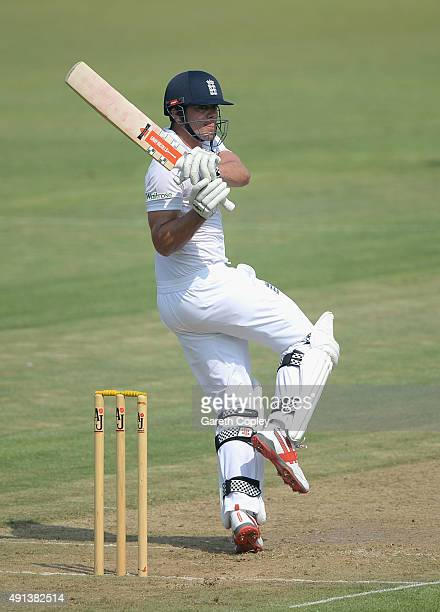 England captain Alastair Cook bats during day one of the tour match between Pakistan A and England at Sharjah Cricket Stadium on October 5 2015 in...