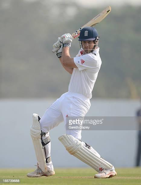 England captain Alastair Cook bats during the tour match between England and Haryana at Sardar Patel Stadium ground B on November 8 2012 in Ahmedabad...