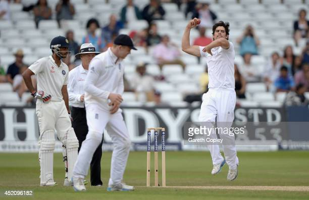 England captain Alastair Cook bowls during day five of 1st Investec Test match between England and India at Trent Bridge on July 13 2014 in...
