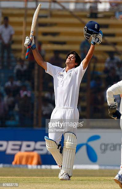 England captain Alastair Cook celebrates after reaching his century during day one of the 1st Test match between Bangladesh and England at Jahur...