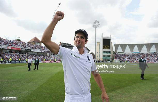 England captain Alastair Cook celebrates after winning the 4th Investec Ashes Test match between England and Australia at Trent Bridge on August 8...