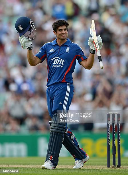 England captain Alastair Cook celebrates reaching his century during the 2nd Natwest One Day International match between England and West Indies at...