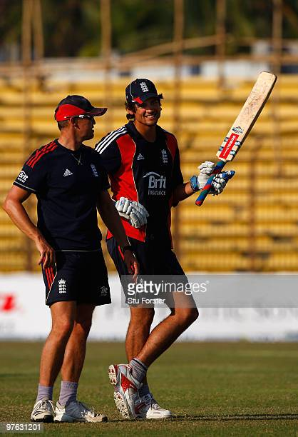 England captain Alastair Cook chats with coach Andy Flower during England nets at Jahur Ahmed Chowdhury Stadium on March 11 2010 in Chittagong...