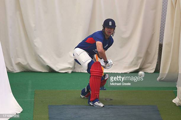 England captain Alastair Cook during the England indoor nets session at Edgbaston on June 22, 2013 in Birmingham, England.