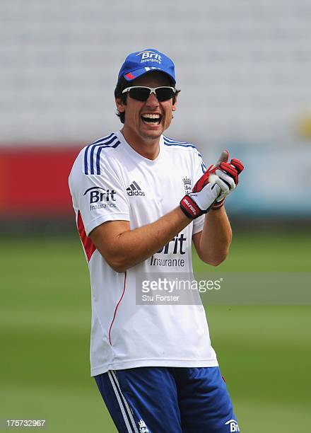 England captain Alastair Cook enjoys a joke during England practice at Emirates Durham ICG on August 7 2013 in ChesterleStreet England