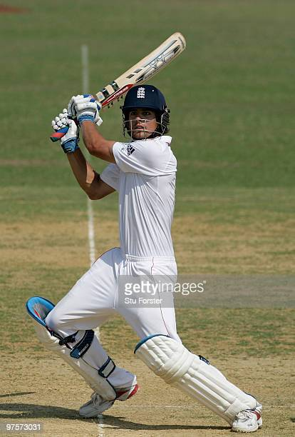 England captain Alastair Cook hits out during day three of the tour match between Bangladesh A and England at Jahur Ahmed Chowdhury Stadium on March...