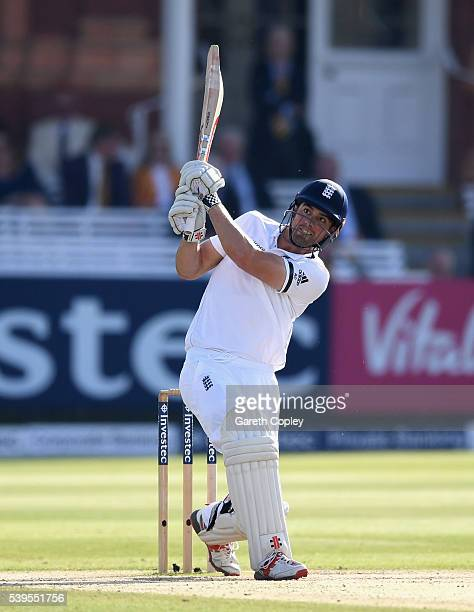 England captain Alastair Cook hits out for six runs during day four of the 3rd Investec Test match between England and Sri Lanka at Lord's Cricket...
