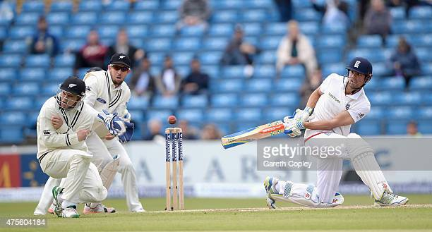 England captain Alastair Cook hits Tom Latham of New Zealand with a shot during day five of 2nd Investec Test match between England and New Zealand...
