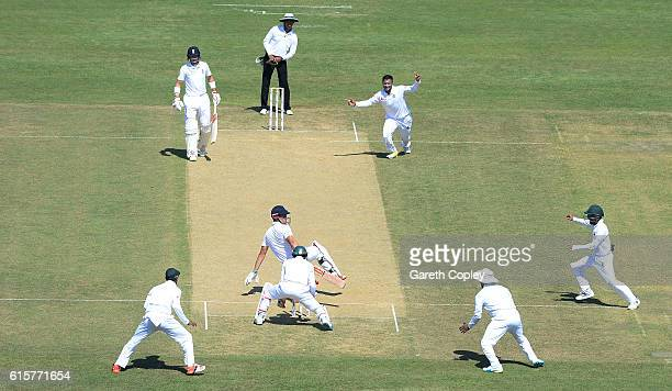England captain Alastair Cook is bowled Shakib Al Hasan of Banglasdesh during the first Test match between Bangladesh and England at Zohur Ahmed...