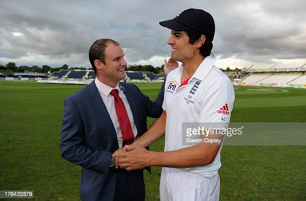 England captain Alastair Cook is congratulated by former captain Andrew Strauss after winning the 4th Investec Ashes Test match between England and...