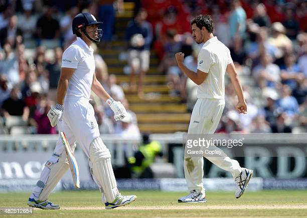 England captain Alastair Cook leaves the field after being dismissed by Mitchell Starc of Australia during day three of the 3rd Investec Ashes Test...