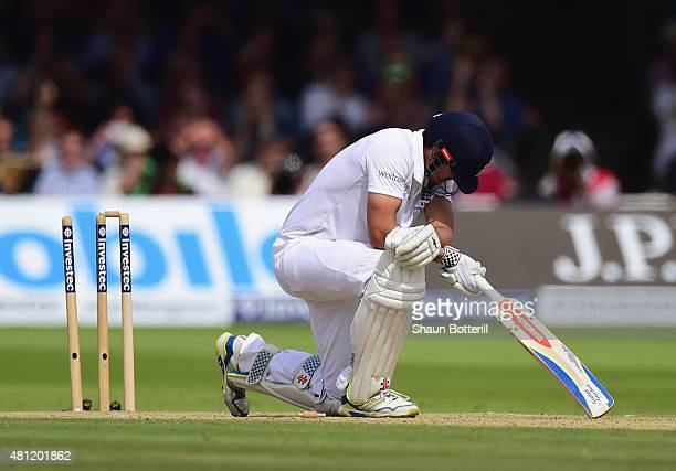 England captain Alastair Cook looks dejected after playing on to his stumps during day three of the 2nd Investec Ashes Test match between England and...