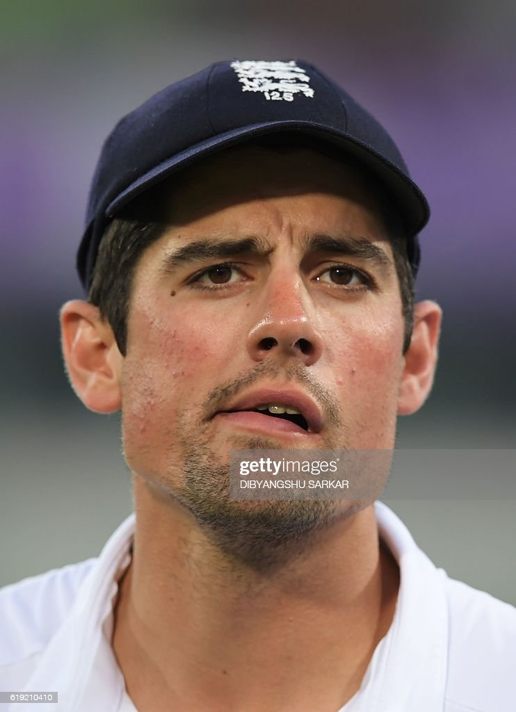 England captain Alastair Cook looks on during the prize-giving ceremony after the third day of the second Test cricket match Bangladesh and England at the Sher-e-Bangla National Cricket Stadium in Dhaka on October 30, 2016. Bangladesh won the match by 108 runs and leveled the two-match Test series 1-1. / AFP / Dibyangshu SARKAR