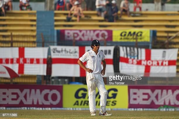 England captain Alastair Cook looks on thoughfully during day four of the 1st Test match between Bangladesh and England at Jahur Ahmed Chowdhury...