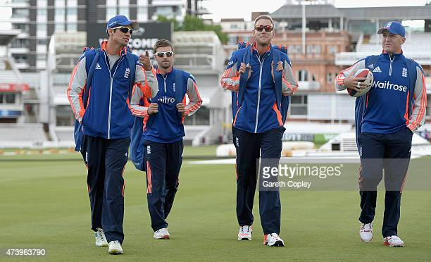 England captain Alastair Cook Mark Wood Stuart Broad and Gary Ballance arrive for a nets session at Lords Cricket Ground on May 19 2015 in London...